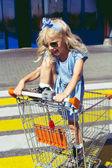Fotografie little adorable female child having fun in shopping cart on crosswalk