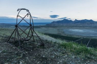 Old vestibular training apparatus in summer morning landscape of Crimea, Ukraine, May 2013