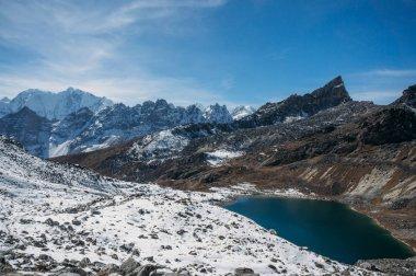 Beautiful scenic landscape with snowy mountains and lake, Nepal, Sagarmatha, November 2014 stock vector