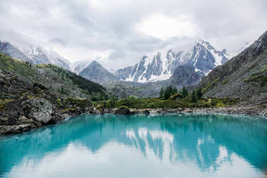 beautiful landscape view of mountains and lake, Altai, Russia