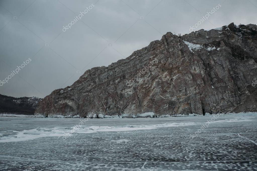 Winter landscape with scenic frozen lake, Russia, Lake Baikal