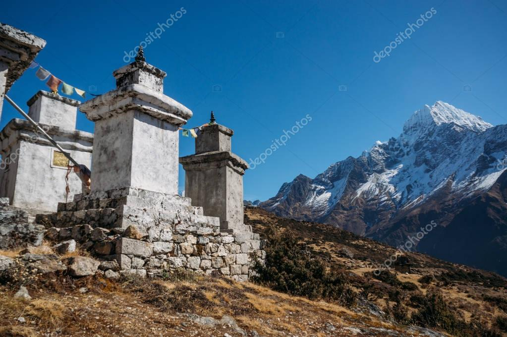 view on constructions in Lower Pangboche village, Nepal, Khumbu, November 2014