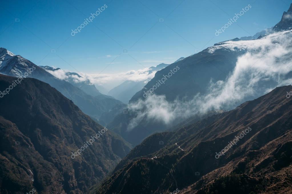 amazing snowy mountains landscape and clouds, Nepal, Sagarmatha, November 2014