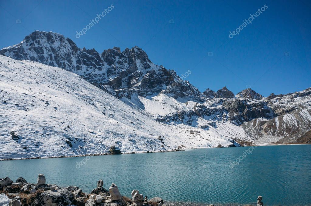 beautiful scenic landscape with snowy mountains and lake, Nepal, Sagarmatha, November 2014
