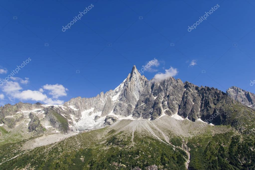 scenic view of rocky mountains and clear blue sky, Alps, France