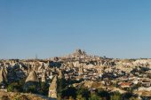 Aerial view of city and fairy chimneys, Cappadocia, Turkey