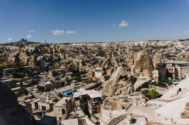 Aerial view of city and fairy chimneys, Cappadocia, Turkey stock vector