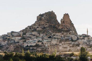 Mountain landscape with city, Cappadocia, Turkey stock vector