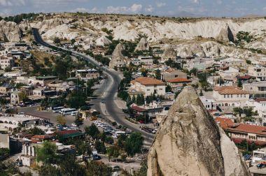 Aerial view of city in Cappadocia, Turkey stock vector