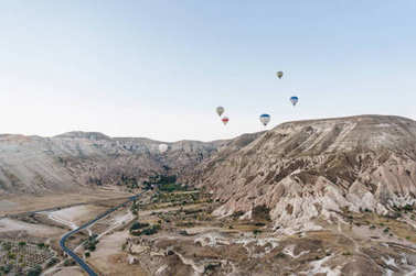 Mountain landscape with Hot air balloons, Cappadocia, Turkey stock vector