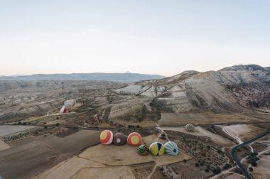 Hot air balloons in Goreme national park, fairy chimneys, Cappadocia, Turkey stock vector