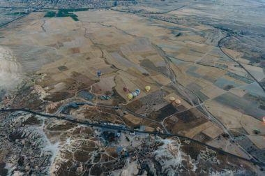 Aerial view of Hot air balloons festival in Goreme national park, fairy chimneys, Cappadocia, Turkey stock vector