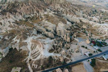 Aerial view of fairy chimneys, Cappadocia, Turkey stock vector