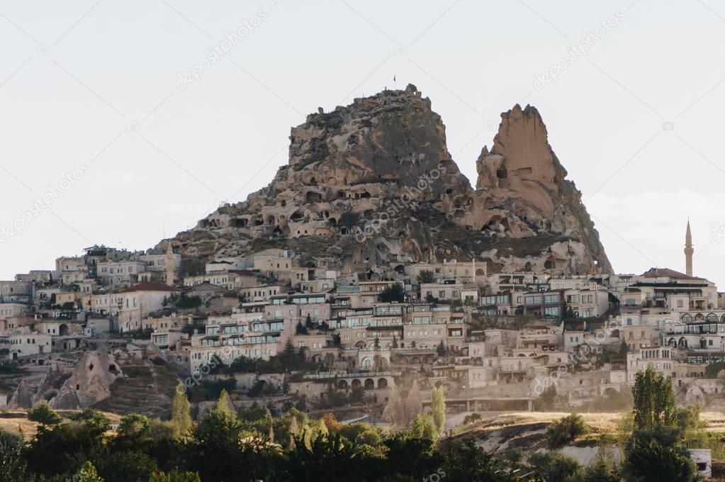 mountain landscape with city, Cappadocia, Turkey