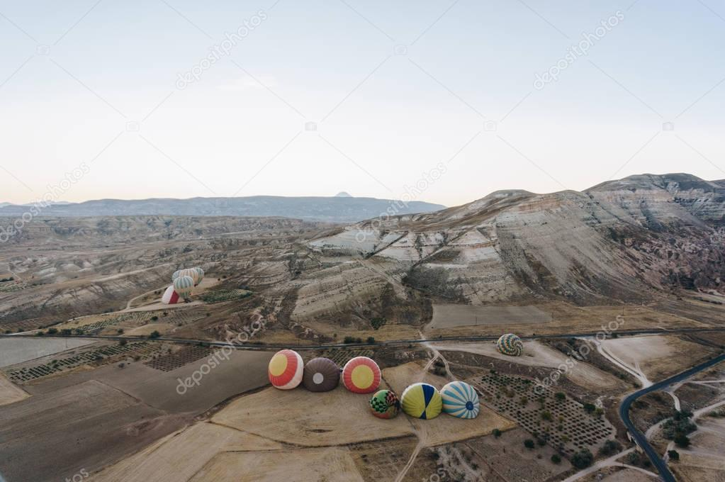 Hot air balloons in Goreme national park, fairy chimneys, Cappadocia, Turkey