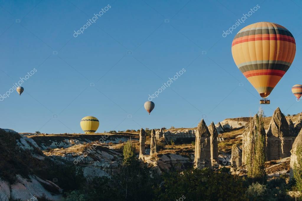 Hot air balloons festival in Goreme national park, fairy chimneys, Cappadocia, Turkey