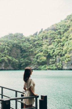 Side view of traveler standing on pier near bay at Ang Thong National Park, Ko Samui, Thailand stock vector