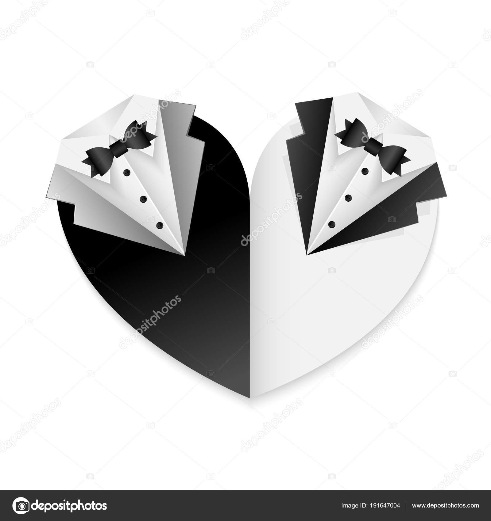 Gay Paar Hochzeit Plakat   Schwarz / Weiß Kombination   Form Des Herzens    Einladung Oder Danksagung Karte U2014 Vektor Von Anura_dsgn