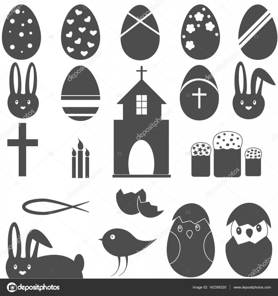 Christian symbols easter eggs bunny stock vector gyso4ka christian symbol set easter eggs bunny vector by gyso4ka biocorpaavc