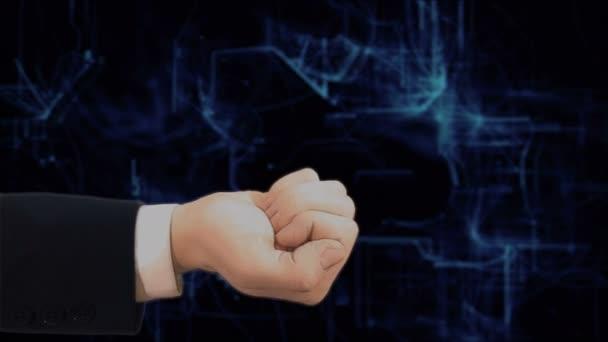 Gemalte Hand zeigt Konzept Hologramm-Live-Chat auf seiner Hand