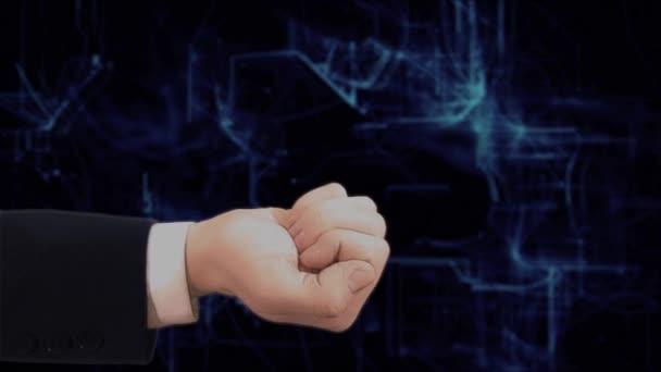 Festett kéz mutatja a koncepció hologram Subscibe a kezét