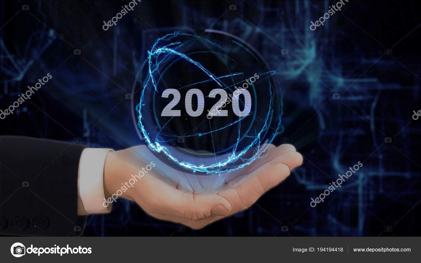 Painted hand shows concept hologram 2020 on his hand — Stock