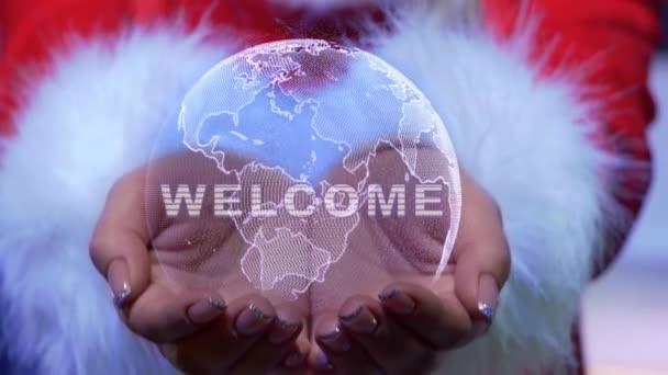 Hände halten Planeten mit Text Willkommen