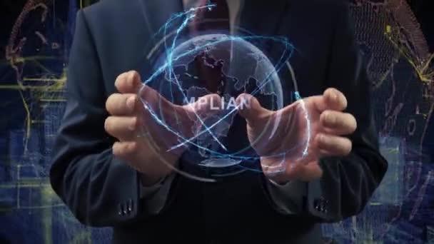 Male hands activate hologram Compliance