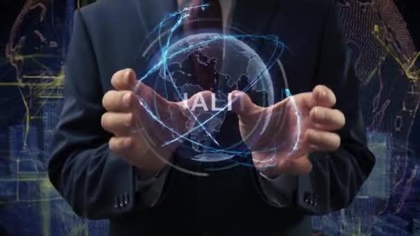 Mužské ruce aktivují kvalitu hologramu