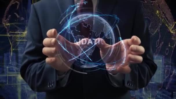 Male hands activate hologram Validation