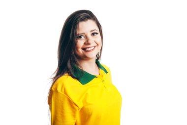 Brazilian soccer fan isolated on white