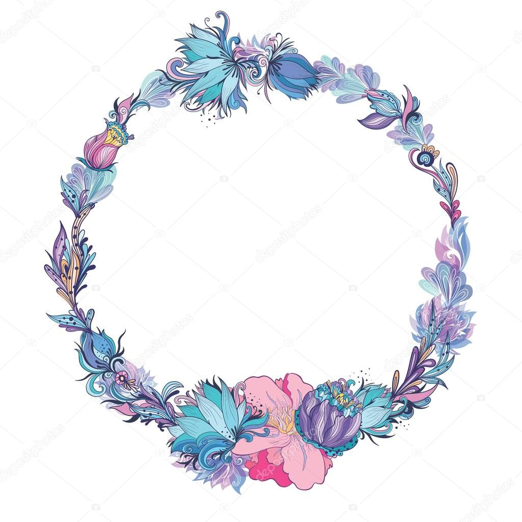 Vector Floral Frame in Indigo and Pink