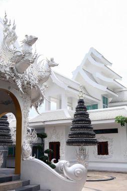 Beautiful white thai hindu temple on sunny day stock vector