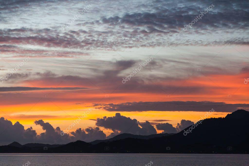 beautiful cloudy sunset sky over sea surface