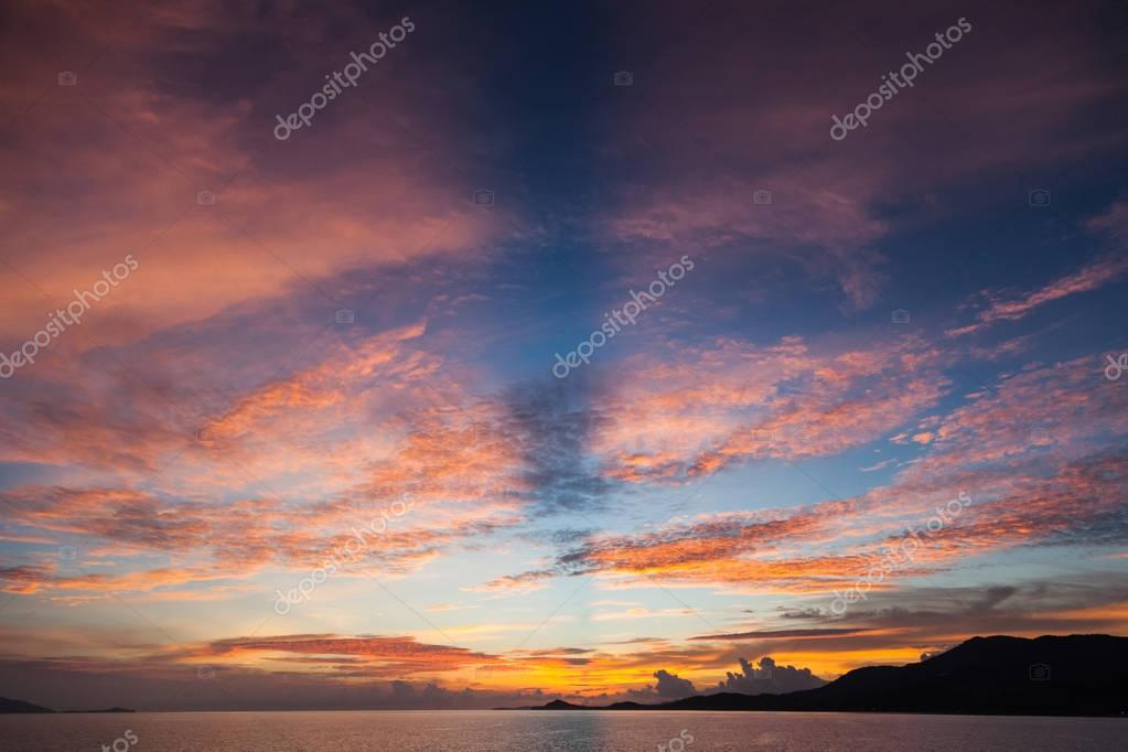 beautiful sunset over calm ocean surface