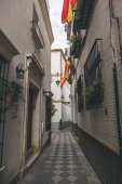 Fotografie view of narrow street with spanish flags