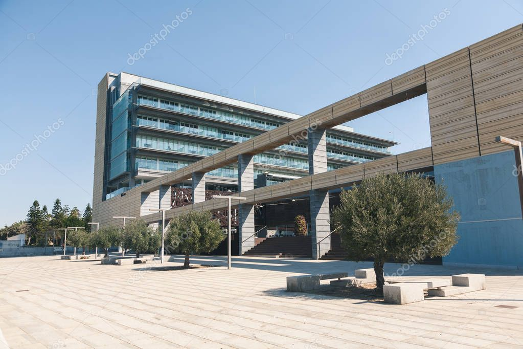 view of building with arc under clear sky, spain