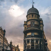 Beautiful view of buildings under cloudy sky, seville, spain