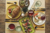 Fotografie top view of tasty healthy breakfast served on wooden table