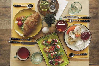 top view of tasty healthy breakfast served on wooden table