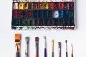 Fotografie Draufsicht der gut organisierten Pinsel und Aquarellfarben auf weiß