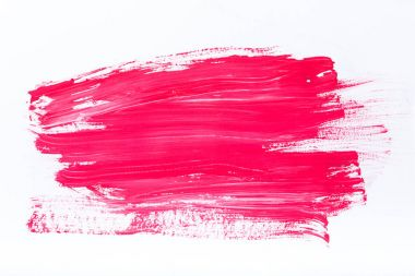 abstract painting with bright pink brush strokes on white