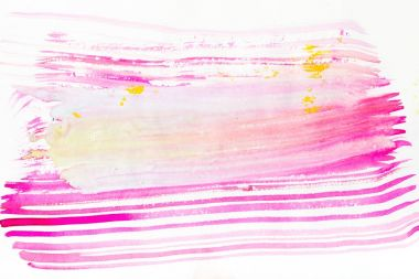 abstract painting with bright pink, purple and yellow brush strokes on white
