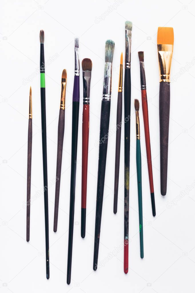 close-up view of various professional paint brushes isolated on white