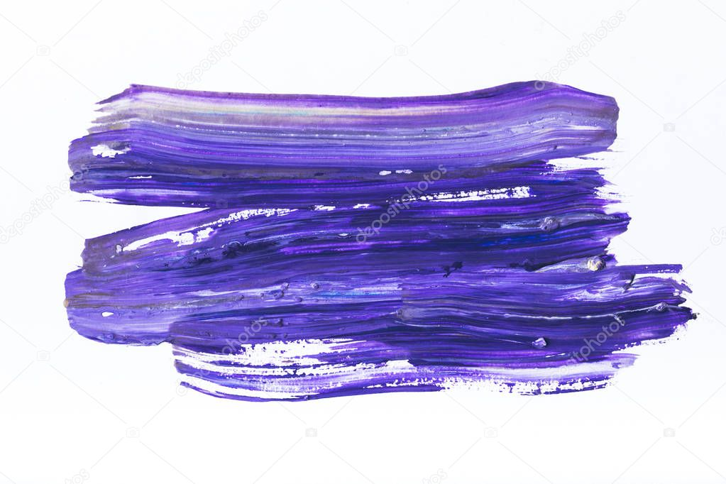 abstract painting with dark blue and purple brush strokes on white