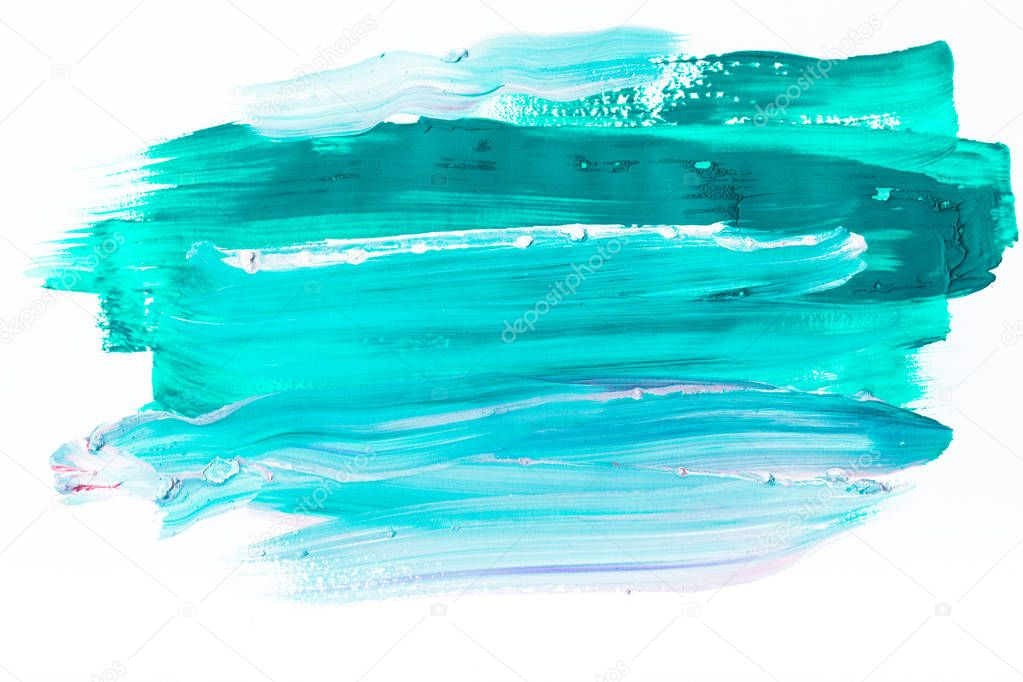 abstract painting with turquoise brush strokes on white