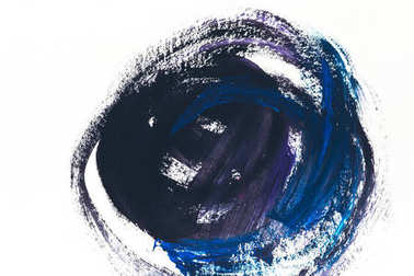 abstract painting with dark blue and violet brush strokes on white
