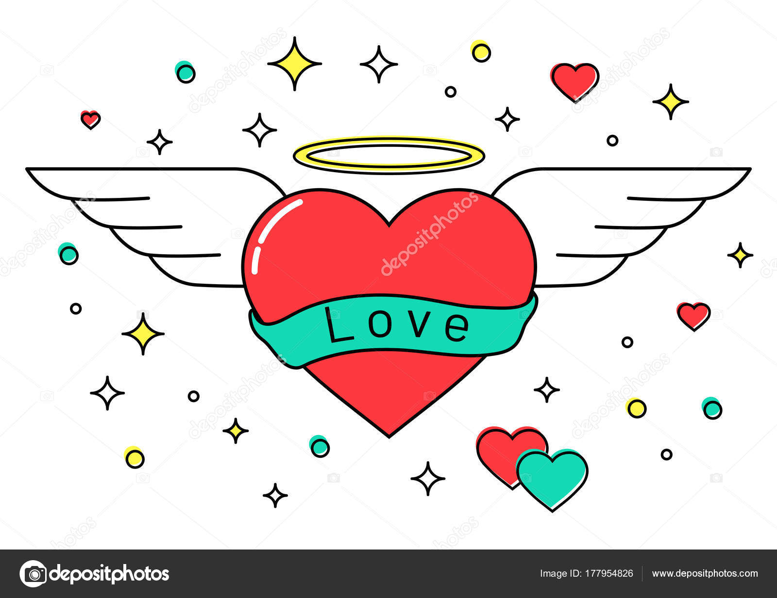 バレンタインの日にハロと天使の羽とハート ストックベクター