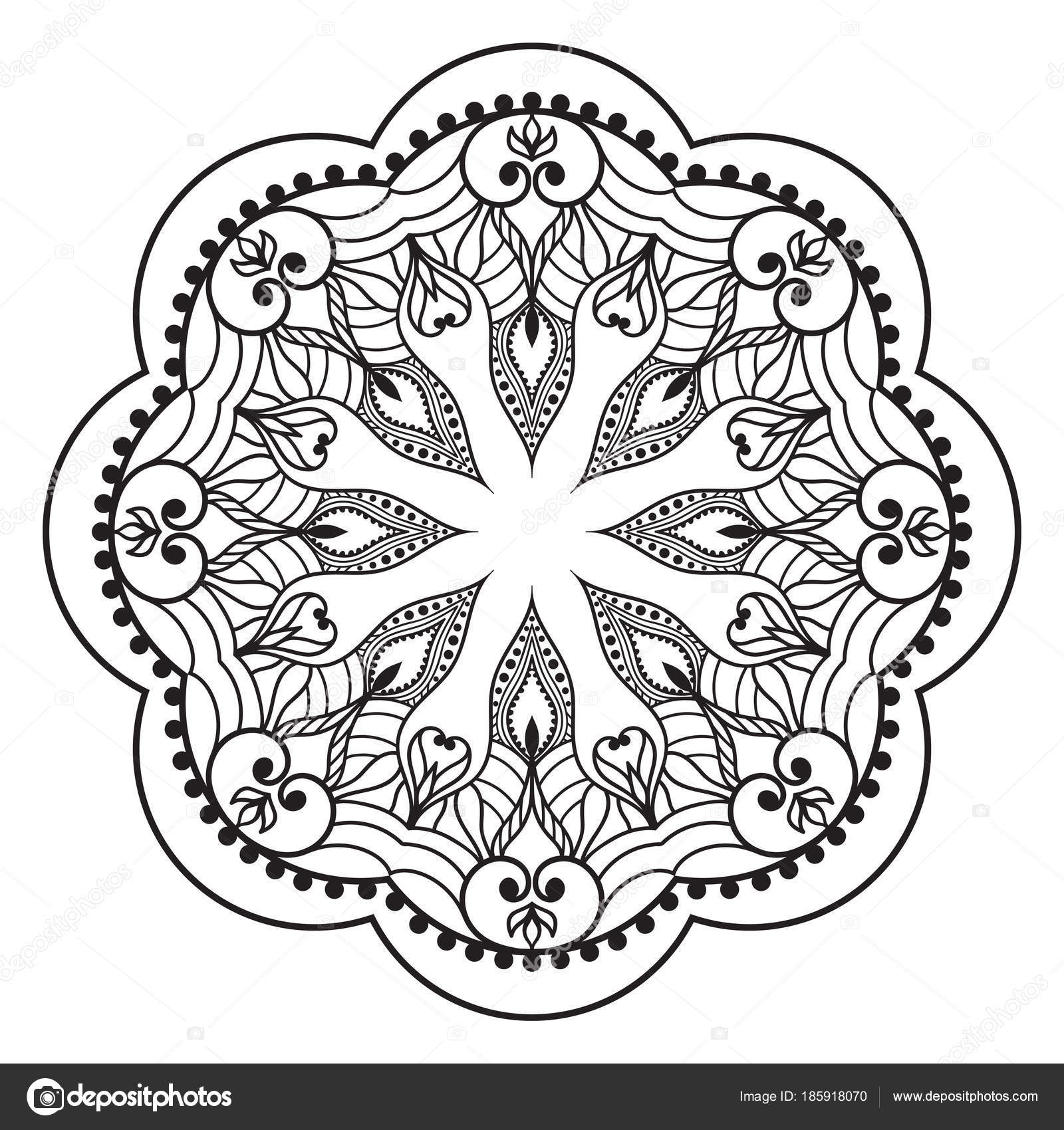 Flower Mandala Ethnic Decoration Element Coloring Page Templat