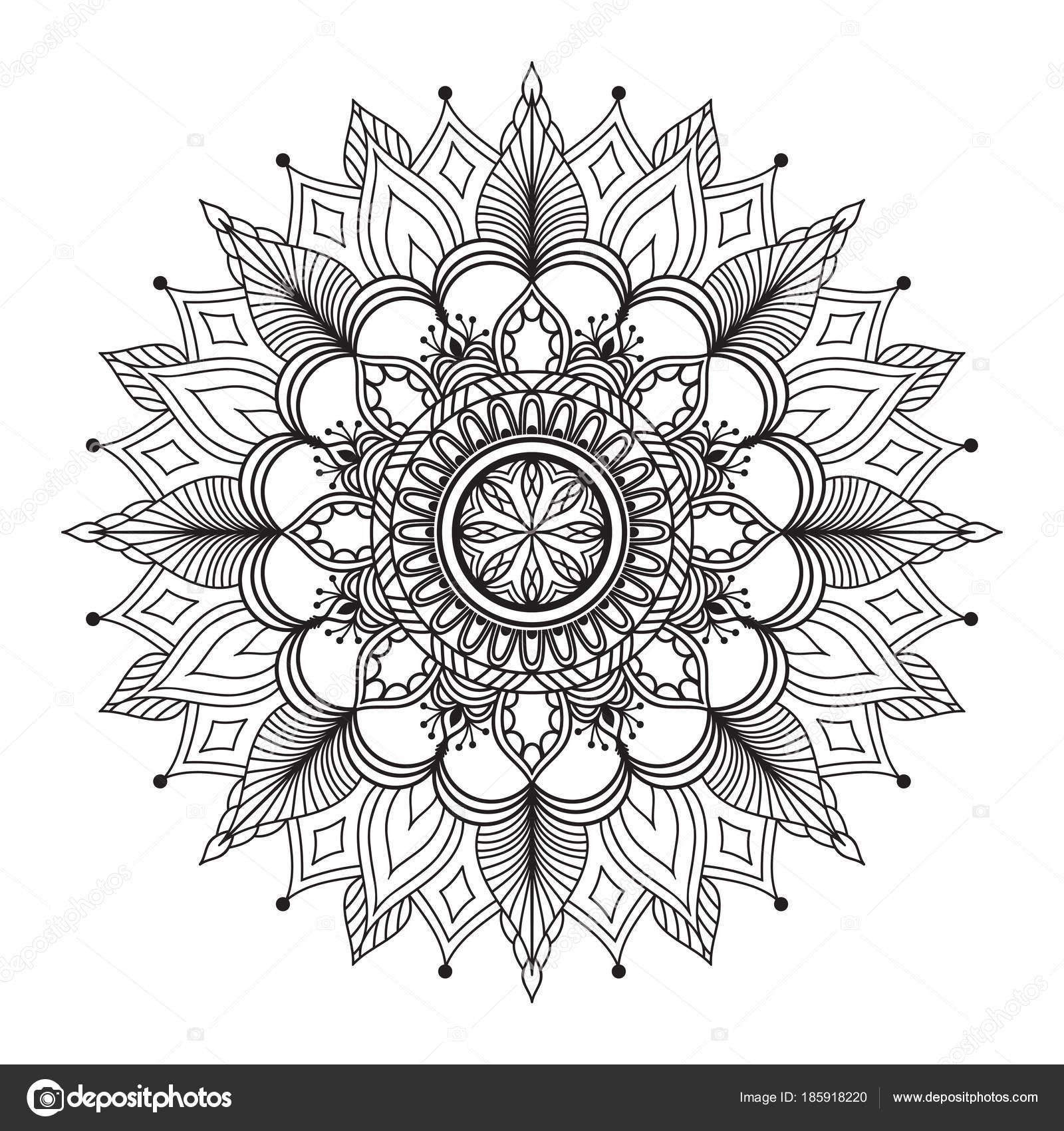 花曼荼羅エスニックな装飾要素ぬりえページ Templat ストック